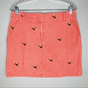 J Crew Skirt Corduroy 6 Pink Coral Geese Pockets